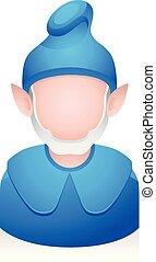 pessoas, avatar, ícones, -, azul, duende