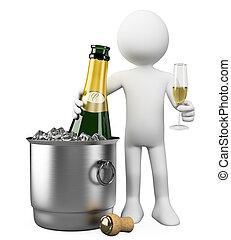 pessoas., balde, garrafa, branca, champanhe, 3d
