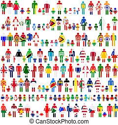 pessoas, bandeiras, fundo, patternes, mundo, crianças