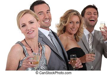 pessoas, bebendo, champanhe