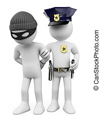 pessoas., branca, polícia, ladrão, 3d