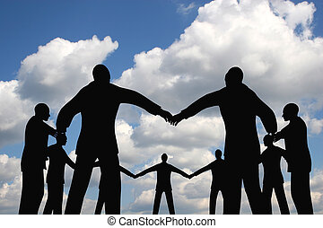 pessoas, círculo, grupo, ligado, nuvem, céu