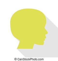 pessoas, cabeça, sinal., pêra, ícone, com, apartamento, estilo, sombra, path.
