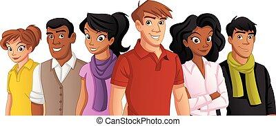 pessoas., caricatura, jovem