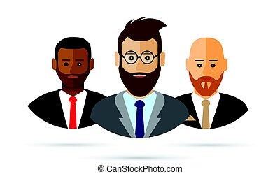 pessoas, caricatura, negócio, ícone