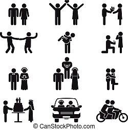 pessoas, casório, relacionamento, ícone, jogo