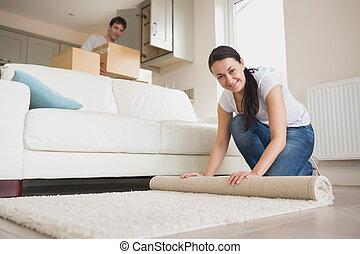 pessoas, casa, lar, novo, dois, decoração de interiores