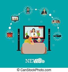 pessoas, casa, observar, notícia cidade, ligado, tv., conceito, vetorial, ilustração, em, apartamento, estilo, desenho