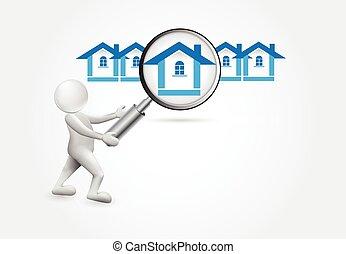 pessoas, casa, -, procurar, pequeno, 3d