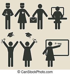pessoas, ciência, educação, ícones