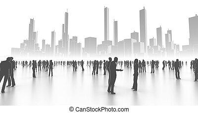 pessoas, cidade, em, branca
