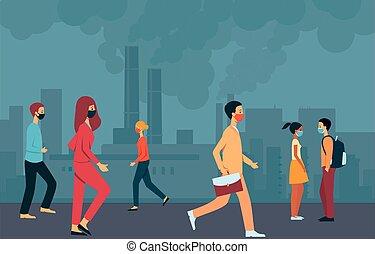 pessoas cidade, esfumaçado, máscaras, passeio, environment., através, areje poluição