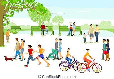 pessoas cidade, park.eps, lazer