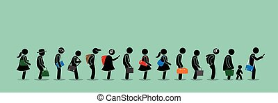 pessoas, cima, longo, enfileirar-se, fila, linha.