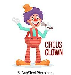 pessoas., circo, personagem, isolado, palhaço, ilustração, vector., hilarious, desempenho, branca, caricatura, rir