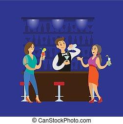 pessoas, clube, coquetéis, clubbing, partido, bebidas