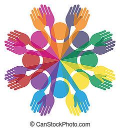 pessoas., coloridos, grupo