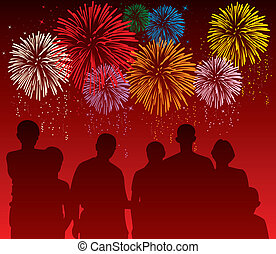 pessoas, coloridos, observar, ilustração, vetorial, fogos artifício