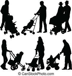 pessoas, com, bebês, em, carrinho criança