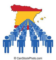 pessoas, com, espanha, mapa, bandeira