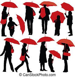 pessoas, com, guarda-chuvas