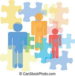 pessoas, com, quebra-cabeça