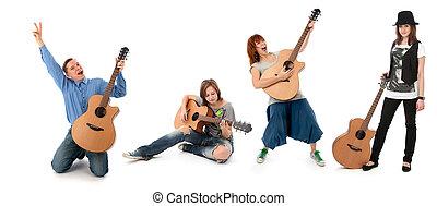 pessoas, com, violões, isolado, branco, fundo