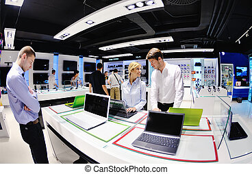 pessoas, compra, em, eletrônica consumidor, loja
