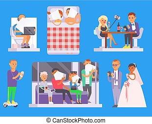 pessoas, comunicação, laptop, modernos, dispositivos, ocupado, rede, tabuleta, concept., computer., online, esperto, vida, telefone negócio, lifestyle., usando, pessoa, conexão, problema social, ou