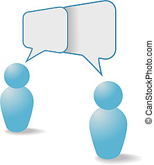 pessoas, comunicação, parte, símbolos, fala, bolhas, ...