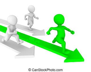 pessoas, concept., competição, pequeno, runs., 3d