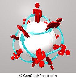 pessoas, conexões, -, social, rede