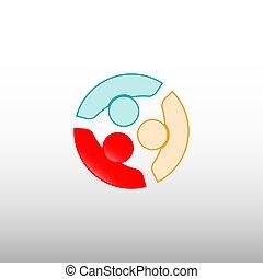 pessoas, conexões, vetorial, logotipo, modelo
