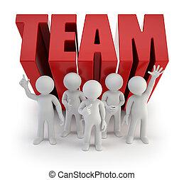 pessoas, confiança, -, equipe, pequeno, 3d