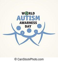 pessoas, consciência, juntar, mãos, autism, três, mundo, dia, palavra