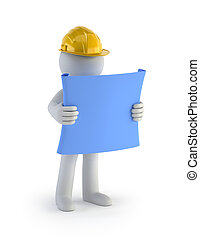 pessoas, construtor, -, plano, pequeno, 3d