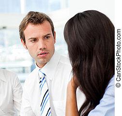 pessoas conversando, negócio, dois, junto