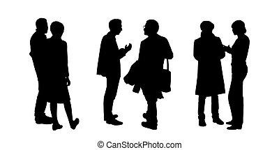 pessoas conversando, para, um ao outro, silhuetas, jogo, 1