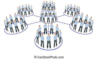 pessoas, cooperação, sistema, esquema, colagem