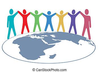 pessoas, cores, segure mãos, e, braços, ligado, mapa mundial