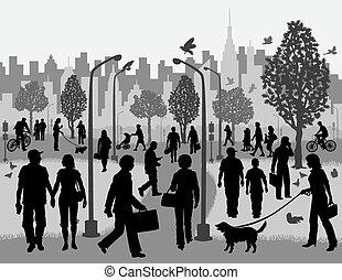 pessoas cotidianas, em, um, parque cidade