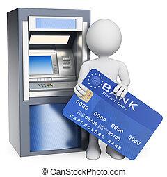 pessoas., crédito, atm., branca, cartão, 3d