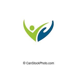 pessoas, cuidado, logotipo, vetorial
