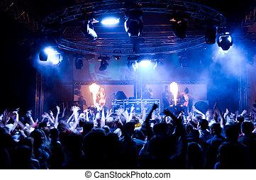pessoas, dançar, em, a, concerto, anônimo, meninas, ligado,...