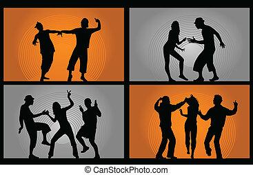 pessoas, dançar, -, ilustração, vetorial, partido