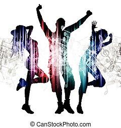 pessoas, dançar, ligado, notas música, fundo