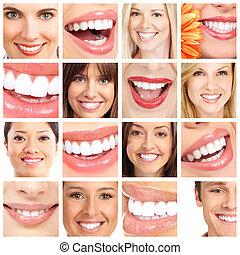 pessoas, dentes, collage.