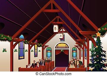 pessoas, dentro, véspera, celebrando, igreja, natal