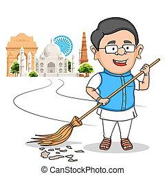 pessoas, desejando, índia, indianas, dia, independência, feliz