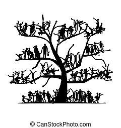 pessoas, desenho, esboço, árvore, seu